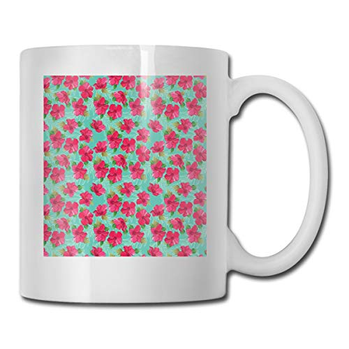 Jolly2T Funny Ceramic Novelty Coffee Mug 11oz,Botanical Garden Pattern with Pink Hibiscus Blossoms Aloha Nature,Unisex Who Tea Mugs Coffee Cups,Suitable for Office and Home Blossom Demitasse Cup