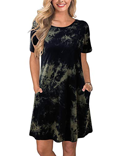 ABYOXI Damen Kurzarm Lose Casual Tie Dye Tunika Mini T-Shirt Kleid mit Taschen Gr. L, Armee-grün - Tie-dye-tunika