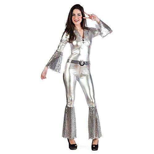 Womens Kostüm Diva Disco - Disco Diva Kostüm Damen Silber Overall zur 70er Mottoparty - S