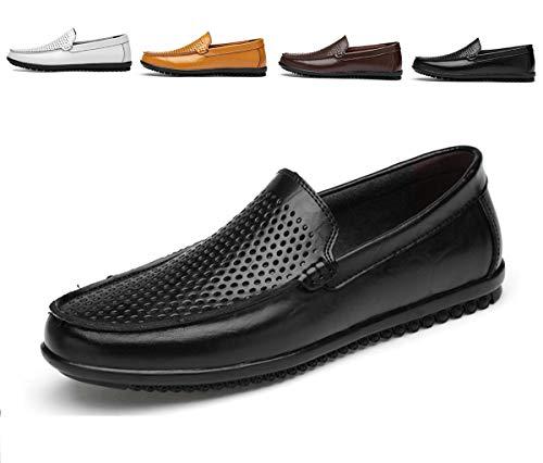 AARDIMI Herren Mokkasins Slip on Casual Männer Loafers Frühling und Herbst Herren Mokassins Schuhe aus echtem Leder Herren Wohnungen Schuhe schwarz (44 EU, Z-1272-Schwarz) Leder-schuhe, Slip-ons