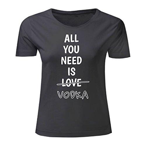 Art T-shirt, Maglietta All you need is vodka, Donna Nero