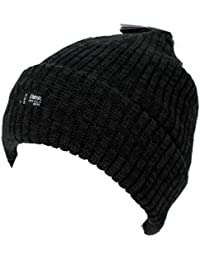 Mens Chunky Knit Thinsulate Fleece Lined Ski Hat - Black