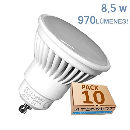 (LA) NOVEDAD 10x GU10 LED 8,5w Potentisima! Halogeno LED 950 lumenes reales - Recambio bombillas 65w. Única con ángulo de 120 grados. (Blanco calido (3000K))