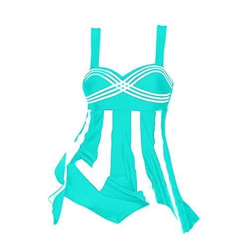 Auspiciousi 2 Stücke Frauen Streifendruck Badebekleidung Plus Size Swimdress Beachwear Badeanzug Schwimmen Anzug Für Frauen Plus Größe Zwei Stücke (Anzug Zwei Schwimmen Stück)