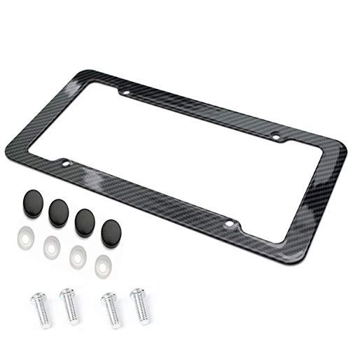 Preisvergleich Produktbild JullyeleDEgant Kennzeichenhalter Rahmen Kohlefaser Kunststoff Nummernschild Rahmen Halterung mit Standard Schraubenkits Universal Fit für Autos