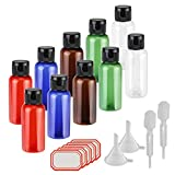 10er 50ml Flug Flaschen Set,KAKOO Bunt Reise Kunststoff Leerflaschen mit Klappdeckel Flüssigkeit...