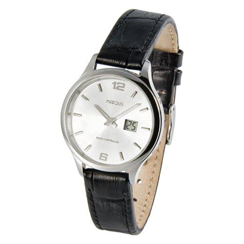 MARQUIS Damen Funkuhr, Schwarzes Lederarmband, Gehäuse aus Edelstahl, Armbanduhr, Junghans-Uhrwerk 964.4782