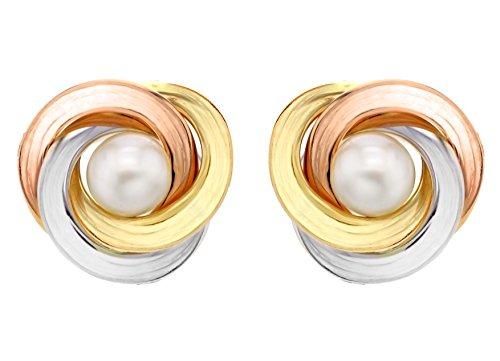 Carissima Gold Damen 6 mm Perle und 15 mm Knoten Ohrstecker 9k (375) Gold 3-farbig  3.58.8489