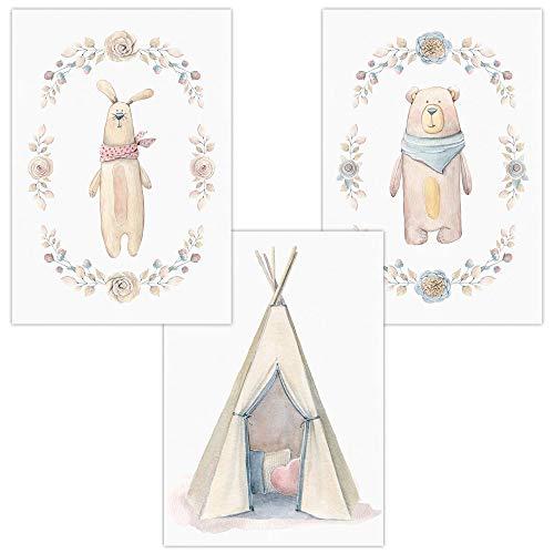 Wandbilder 3er Set für Baby & Kinderzimmer Deko Poster Hase Tipi Bär | Kunstdruck DIN A4 ohne Rahmen und Dekoration (Hase Indianerzelt Tipi Bär)