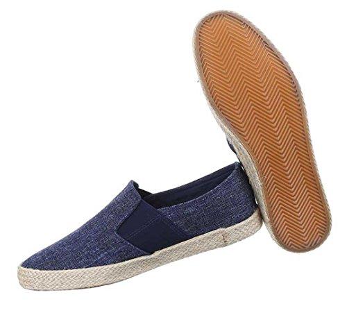 Herren Halbschuhe Schuhe Loafar Slipper Blau Beige 40 41 42 43 44 45 Blau