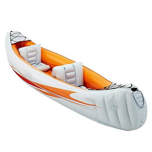 Kajak Gruppe Fischerboot Verdickung Kajak Schlauchboot Explorer Zwei oder drei Schlauchboot Luftkissenfahrzeug, Boot Propeller Luftpumpe / Orange zu senden ( Farbe : Orange , Größe : 320x80cm )