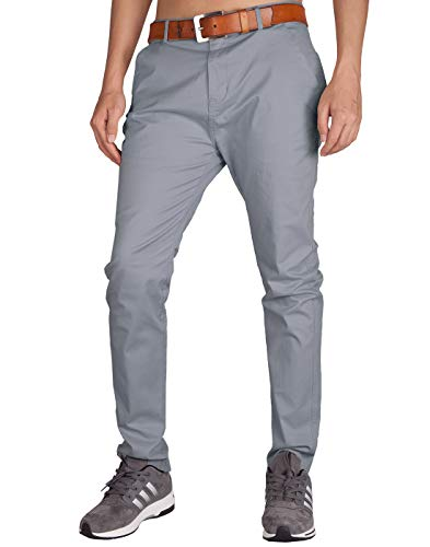 Baumwoll Twill Rock (Italy Morn Herren Chinohose Chino Casual Business Stoff Hose Slim Fit (30, Steingrau))