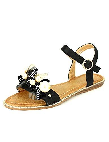 Cendriyon Sandale Noire avec Perles YOLOKO Chaussures Femme Noir
