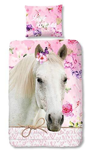 LesAccessoires Pferd Kinder-Bettwäsche-Set 140-x-200 cm Bettbezug 140 x 200 cm, mit Kissenbezug Baumwolle ...
