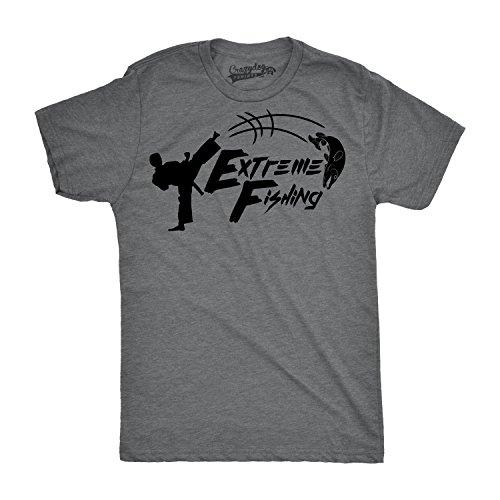 71b6fcb87fa82 Crazy Dog Tshirts - Mens Extreme Fishing Funny Karate Fish Kick Hunting  Sport Cool T Shirt (Grey) 4XL - Divertente Uomo Maglietta