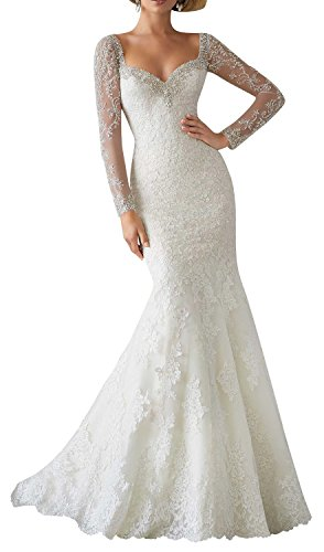 Fanciest Women's Luxury Beaded Long Sleeve Wedding Dresses Lace Bridal Gowns Ivory US24W