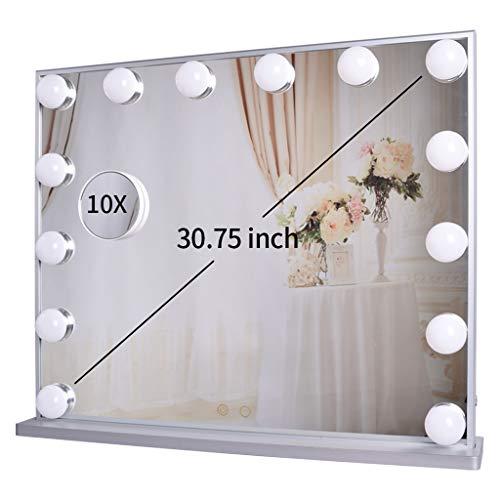 Hollywood Kosmetikspiegel mit Beleuchtung,beleuchtetem Make-up-Dressing an der Tischplatte oder an der Wand befestigten Kosmetikspiegeln mit abnehmbarem Kosmetikspiegel mit 10-facher Vergrößerung (Hollywood Make-up-beleuchtung)