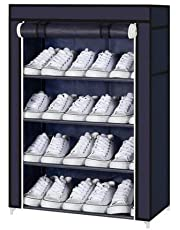 "Aysis Multipurpose Portable Folding Shoes Rack 4""//6"" Tiers Multi-Purpose Shoe Storage Organizer Cabinet Tower with Iron and Nonwoven Fabric with Zippered Dustproof Cover (Navy Blue-4-Layer)"