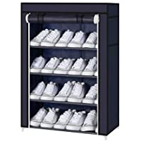 """Aysis Multipurpose Portable Folding Shoes Rack 4""""//6"""" Tiers Multi-Purpose Shoe Storage Organizer Cabinet Tower with Iron and Nonwoven Fabric with Zippered Dustproof Cover (Navy Blue-4-Layer)"""