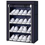 Aysis 4 Layer Multipurpose Portable Folding Shoes Rack/Shoes Shelf/Shoes Cabinet with Wardrobe Cover, Easy Installation Stand for Shoes(Shoes Rack)(Shoes Rack, Shoes Racks for Home)_4 Layer Navyblue
