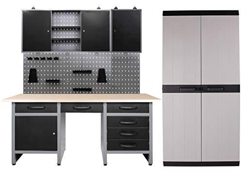 Ondis24 Werkstatteinrichtung 260 x 60 x 205 (H) cm, Arbeitshöhe 85 cm, mit MEGA XL Schrank,...