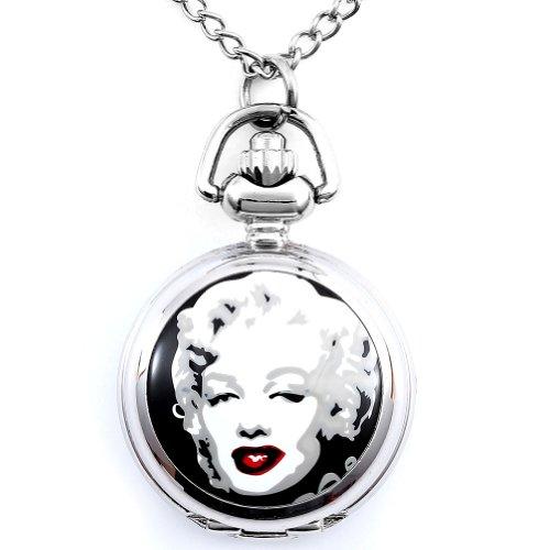 JewelryWe Damen Taschenuhr Marilyn Monroe Uhranhänger Quartzuhr Legierung Kettenuhr Uhr Halskette 78cm 3 Motiven