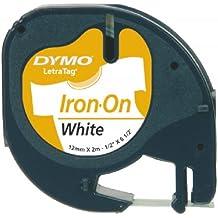 Dymo LetraTag Aufbügelband S0718840 18768 Iron-On 12mm Beschriftungsband z Aufbügeln LT 100 Band weiß, Schrift schwarz