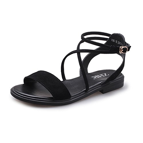 KaiGangHome Wortschnalle-Bügelsandalen beschuht flache römische Schuhe beschuht Schuhe der Retro- Schuhefrauen (Color : Black, Size : 40)