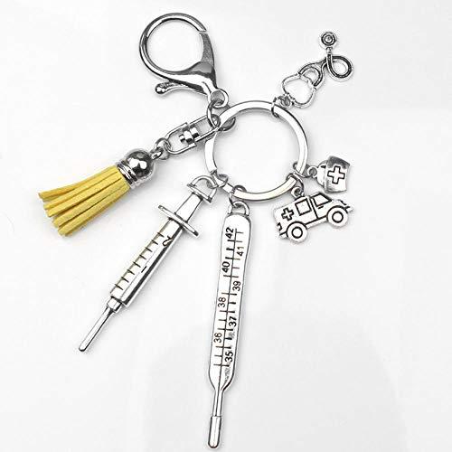 SSLL Schlüsselanhänger Krankenschwester Medical Box Medical Keychain Krankenwagen Nadel Spritze Stethoskop Quaste Cute Keychain Jewelry-A