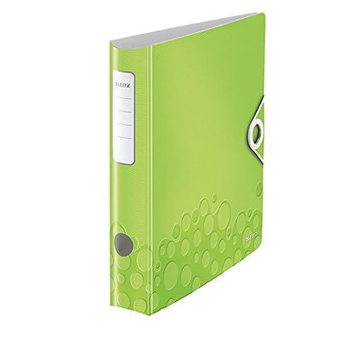 Leitz 11060064 Multifunktions-Ordner (A4, Runder Rücken 6,5 cm Breite, Gummibandverschluss, Kunststoff, WOW) grün metallic