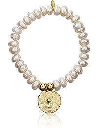 Córdoba Jewels | Plata de Ley 925 bañado en Oro y perla natural. Diseño Chapa Para Grabar Perla Oro