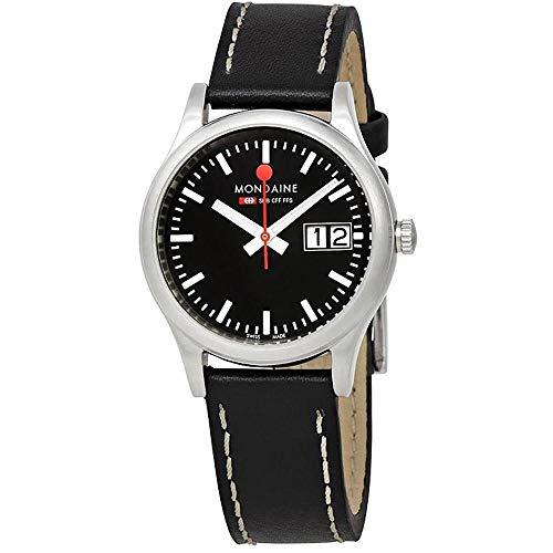 Mondaine A669.30311.14SBB Genuine Leather Strap Ladies Black Dial Watch,32 mm