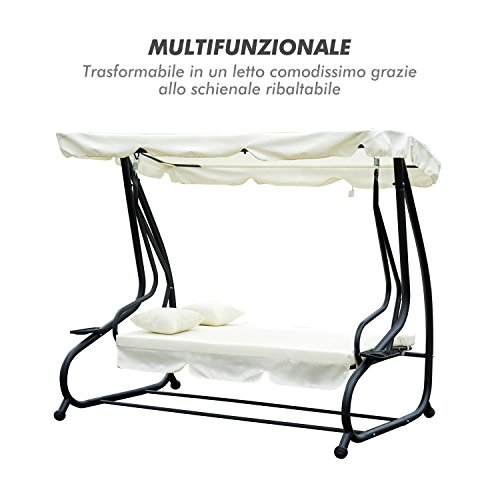 Outsunny Dondolo da Giardino Tre Posti Trasformabile in Letto con Cuscini 200 × 120 × 164cm Crema - 4