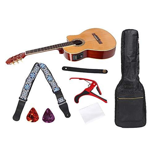 Bnineteenteam Klassisches Cutaway-Gitarrenset, 39-Zoll-Cutaway-Gitarrenset mit Elektrokasten-Pickup, Capo-Schultergurt, Tragetaschenschlüssel und Raffhalter