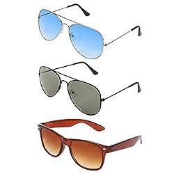 Zyaden Combo of Aviator, Aviator and Wayfarer sunglasses- COMBO 2964