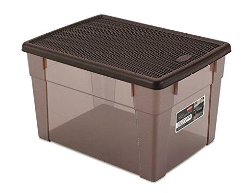 Aufbewahrungsbox 'Elegance' mit Nutzvolumen ca. 30 Liter. In schönem Transparent / Braun mit Deckel...