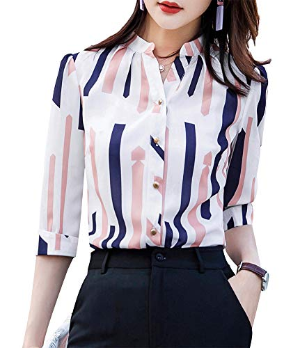 LISUEYNE Damen Hemd, kurzärmlig, mit Knopfleiste Gr. M, Whitets-6129 - Drape-jersey-v-ausschnitt Tops