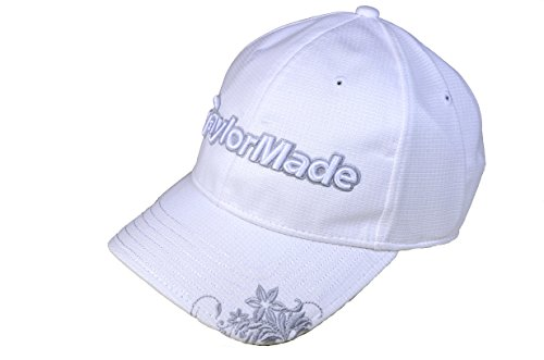 TaylorMade Frauen Golf-Cap florales Motiv weiß/silber sommer-mütze käppi damen golf-visor käppis segel-kappe caps nike big bertha callaway mizuno taylor-made cobra ping titles blendschutz adidas kappe (Klassisches Cap Golf)