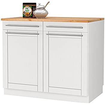 Rita unterschrank schrank küchenschrank 100 x 60 x 85 cm kiefer massiv weiß honig