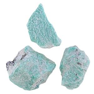 budawi-Mineralien Amazonit Rohsteine Madagaskar, 3 Stück, Wassersteine Amazonit Chips