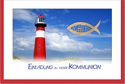 """metALUm Einladungskarten zur Kommunion (10 er Set)""""Leuchtturm"""""""