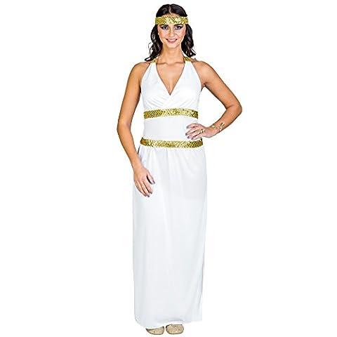 Frauenkostüm Göttin Athene | Langes Kleid mit Neckholder-Ausschnitt | elastisches Haarband mit Pailletten und Goldfaden (XXL | Nr. (Griechischen Frau Kostüm)
