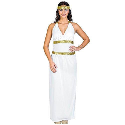 Sexy Ägyptische Göttin Kostüme (Frauenkostüm Göttin Athene | Langes Kleid mit Neckholder-Ausschnitt | elastisches Haarband mit Pailletten und Goldfaden (XL | Nr.)
