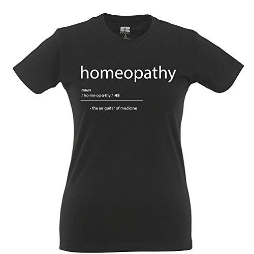 Tim And Ted Homöopathie Die Luftgitarren-of Medicine Printed Slogan Zitat Entwurf Frauen T-Shirt