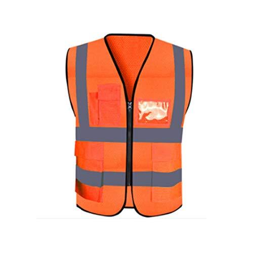 MUZIWENJU Warnweste, Warnweste, Sicherheitskleidung, Garten Verkehrshygiene Hochbau Warnweste Kleidung Lang anhaltende Zeit (Color : Orange, Size : XXXL)