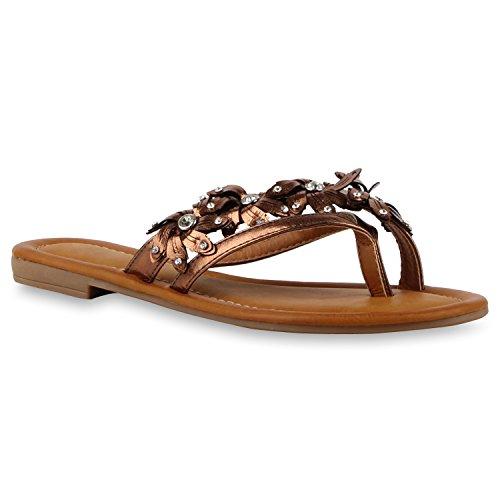 Damen Zehentrenner Beach Schuhe Lack Flats Sandalen Bronze Strass Flowers