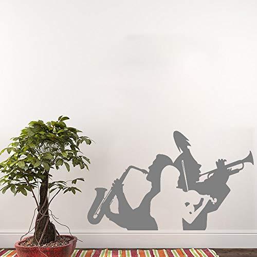 hanmuchen Musiker Saxophon Trompete Violine Wanddekoration Aufkleber Wohnzimmer Dekor Musik Band Wand Tattoo Abnehmbare Große Halle Wand 3 93 cm x 56 cm