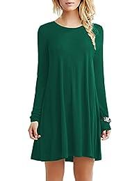 YMING Femme Robe Longues Manches Casual Tunique Style Basique T-Shirt Tops Mini Robe 14 Couleur,XS-XXXXL