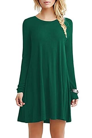 YMING Damen Loose Kleid Langarm Tunika Rundhals Lose T-Shirt Kleid Casual Kleid,Grün,XS