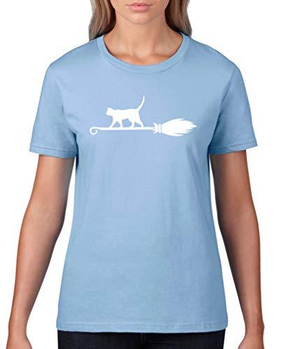 Comedy Shirts - Hexenkatze - Halloween - Damen T-Shirt - Hellblau/Weiss Gr. XL